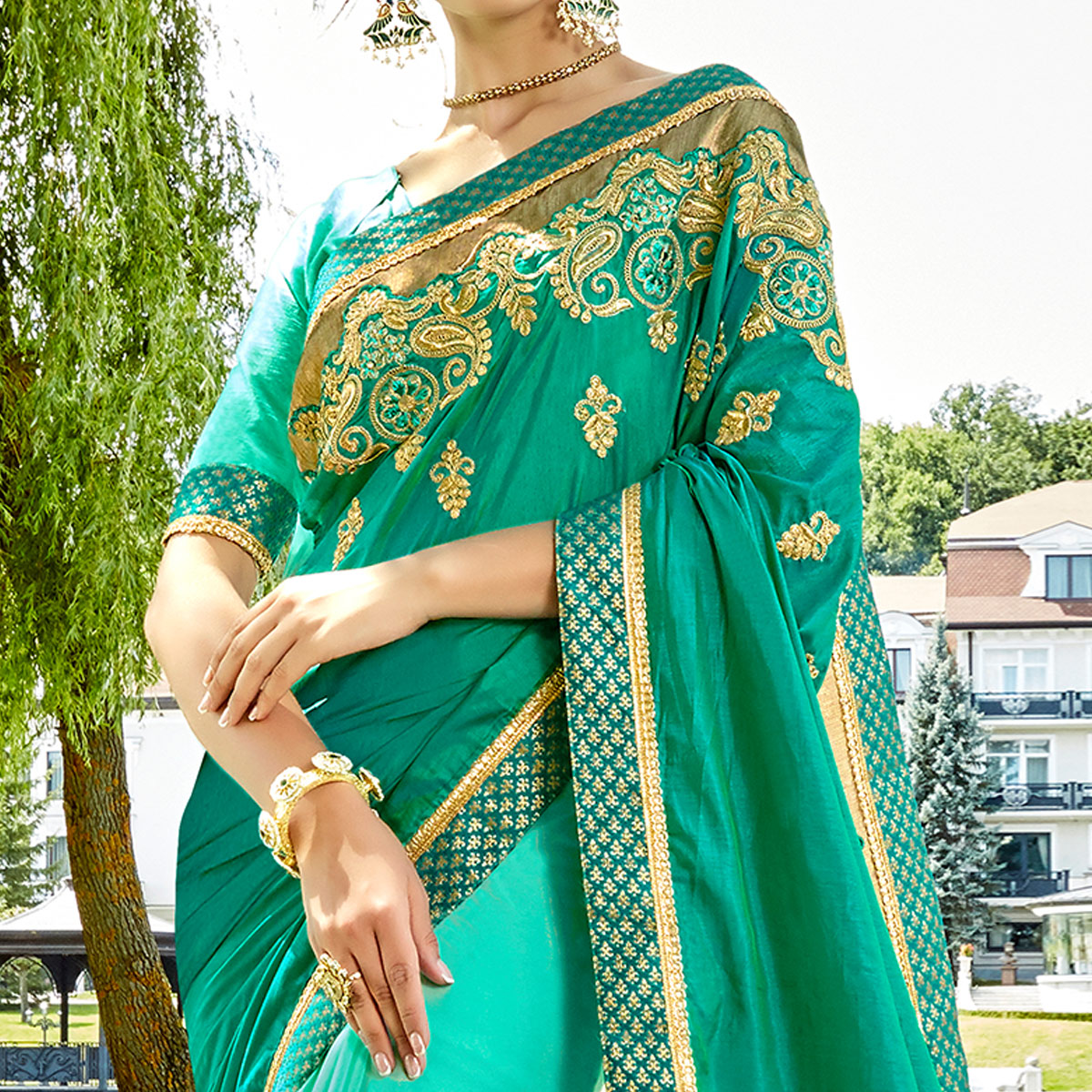 Fantastic Teal Blue & Aqua Blue Colored Party Wear Embroidered Silk-Georgette Saree
