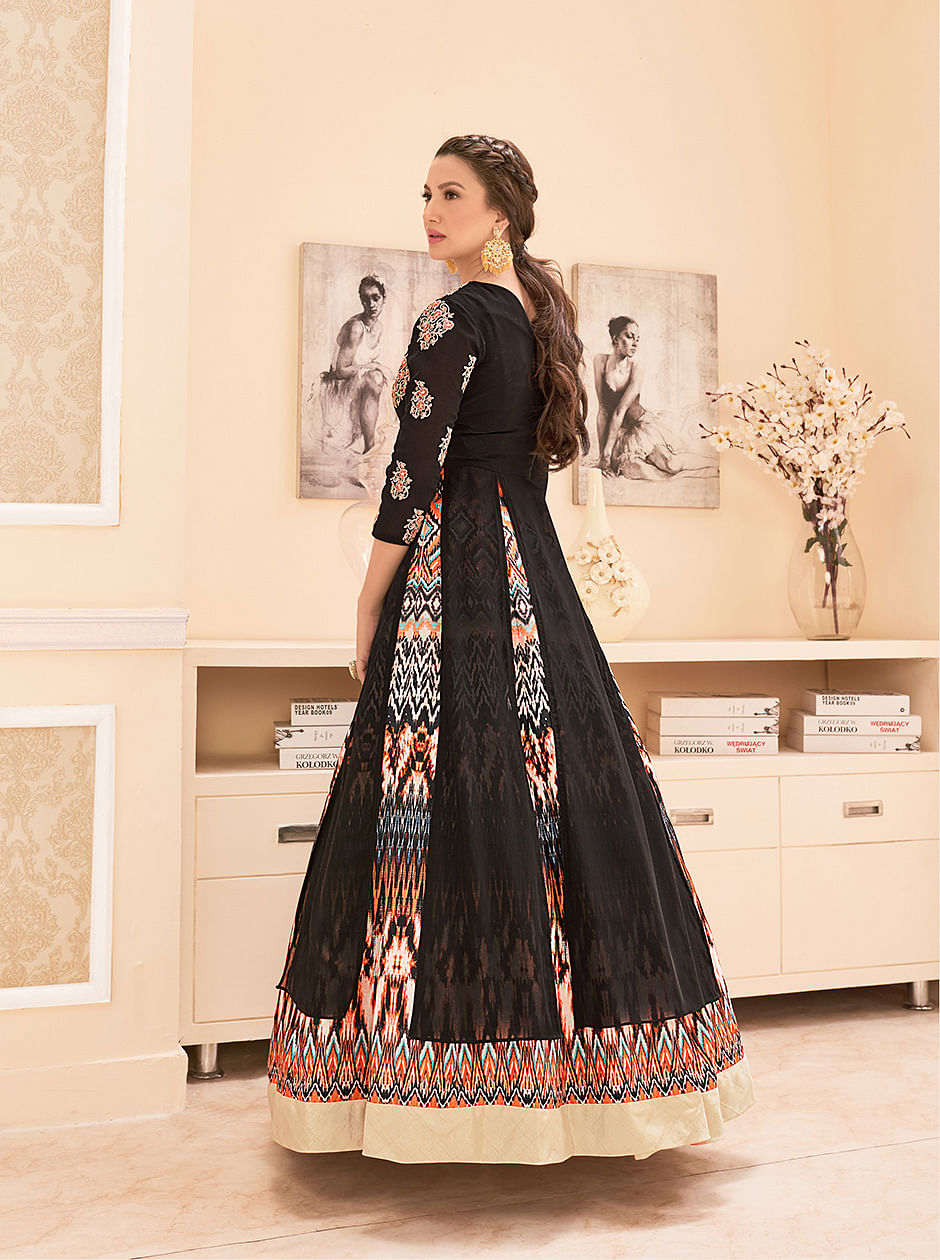 Black - Multi Color Designer Lehenga Suit