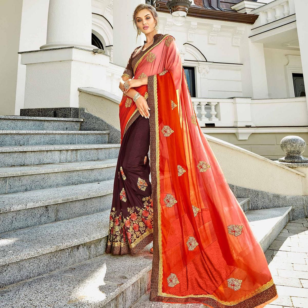 Staring Orange & Brown Colored Party Wear Embroidered Lycra-Georgette Saree