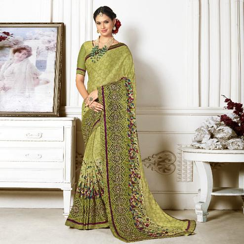 Jazzy Green Colored Casual Wear Printed Chiffon Saree