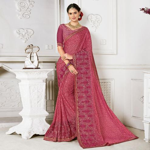 Appealing Pink Colored Casual Wear Printed Chiffon Saree