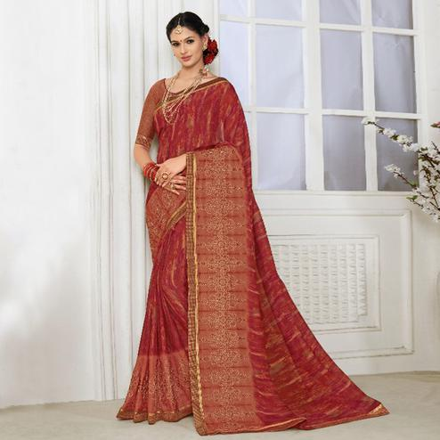 Prominent Maroon Colored Casual Wear Printed Chiffon Saree