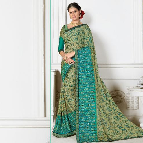 Capricious Light Green Colored Casual Wear Printed Chiffon Saree