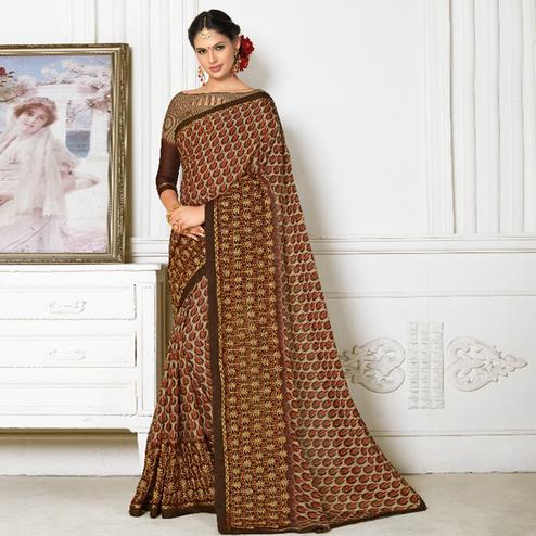 Adorning Brown Colored Casual Wear Printed Chiffon Saree