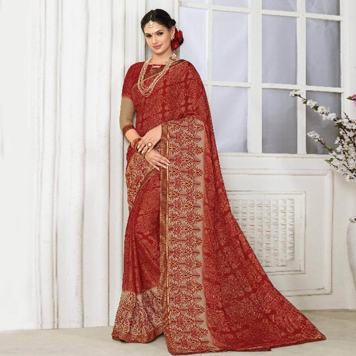 Captivating Red Colored Casual Wear Printed Chiffon Saree