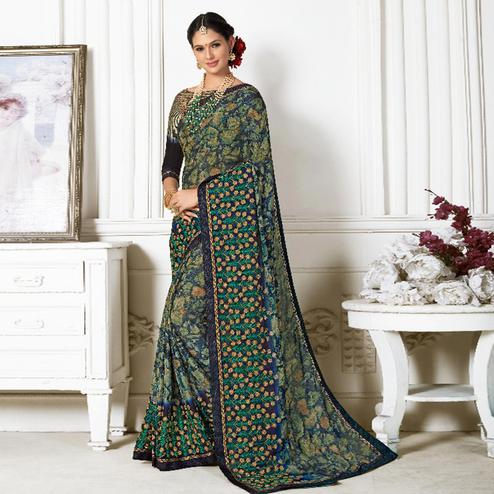 Flirty Multi Colored Casual Wear Printed Chiffon Saree