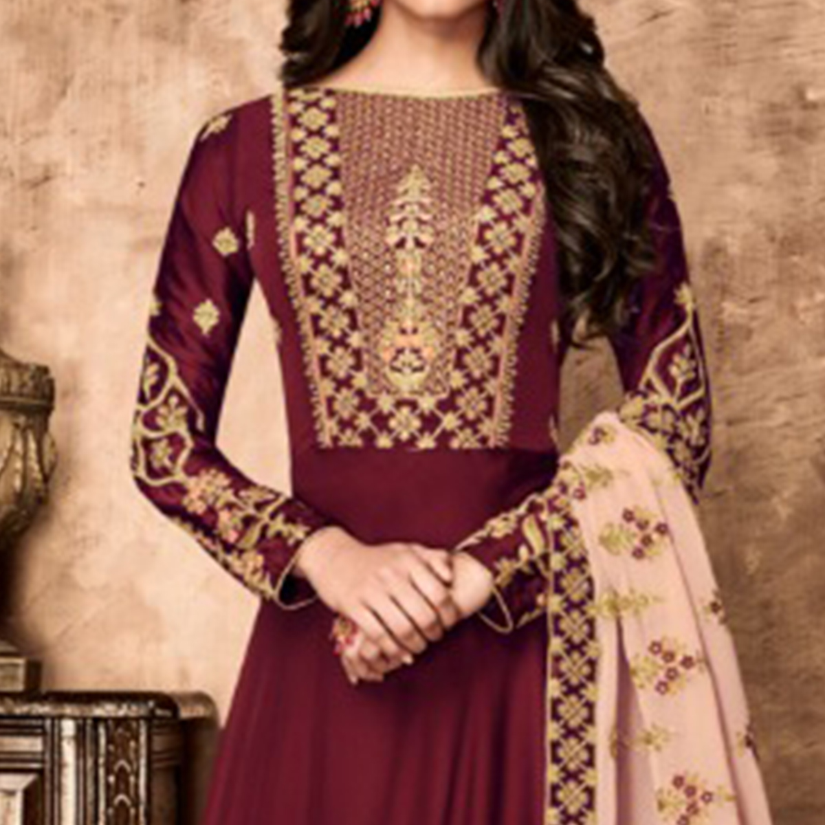 Demanding Maroon Colored Party Wear Embroidered Georgette Anarkali Suit