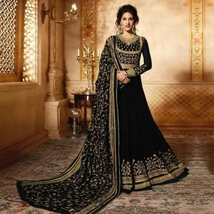 Flattering Black Colored Wedding Wear Embroidered Georgette Anarkali Suit