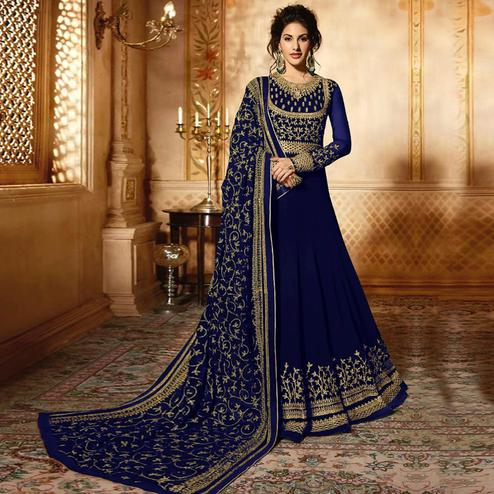 Breathtaking Blue Colored Wedding Wear Embroidered Georgette Anarkali Suit
