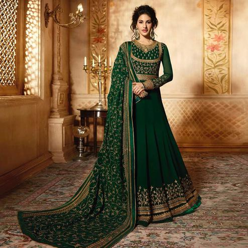 Impressive Green Colored Wedding Wear Embroidered Georgette Anarkali Suit