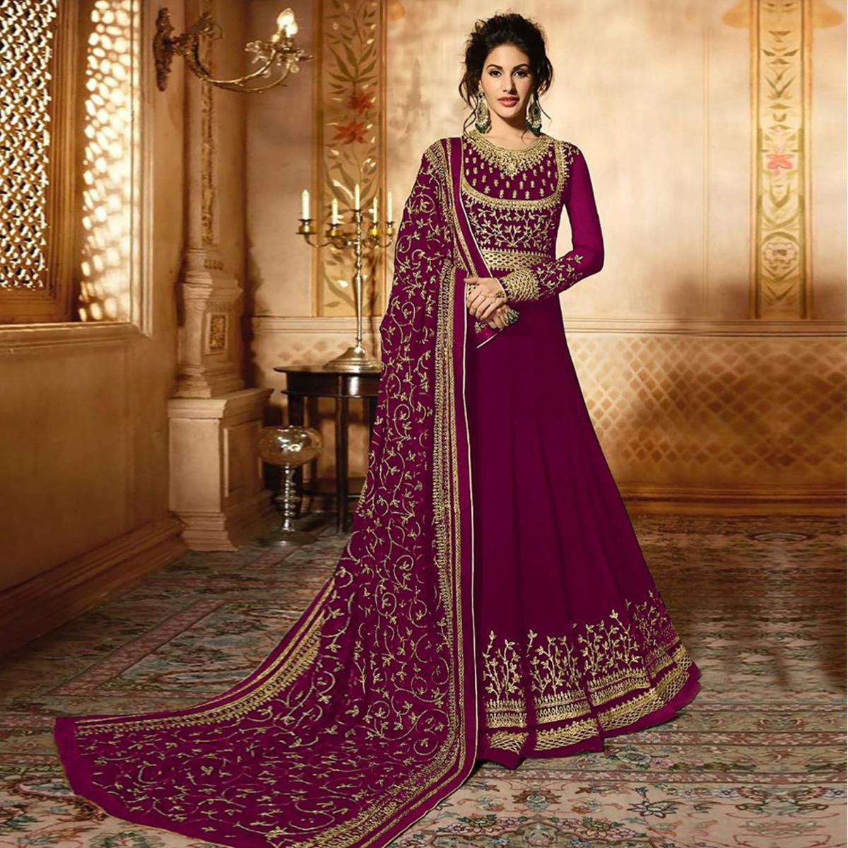 Innovative Pink Colored Wedding Wear Embroidered Georgette Anarkali Suit