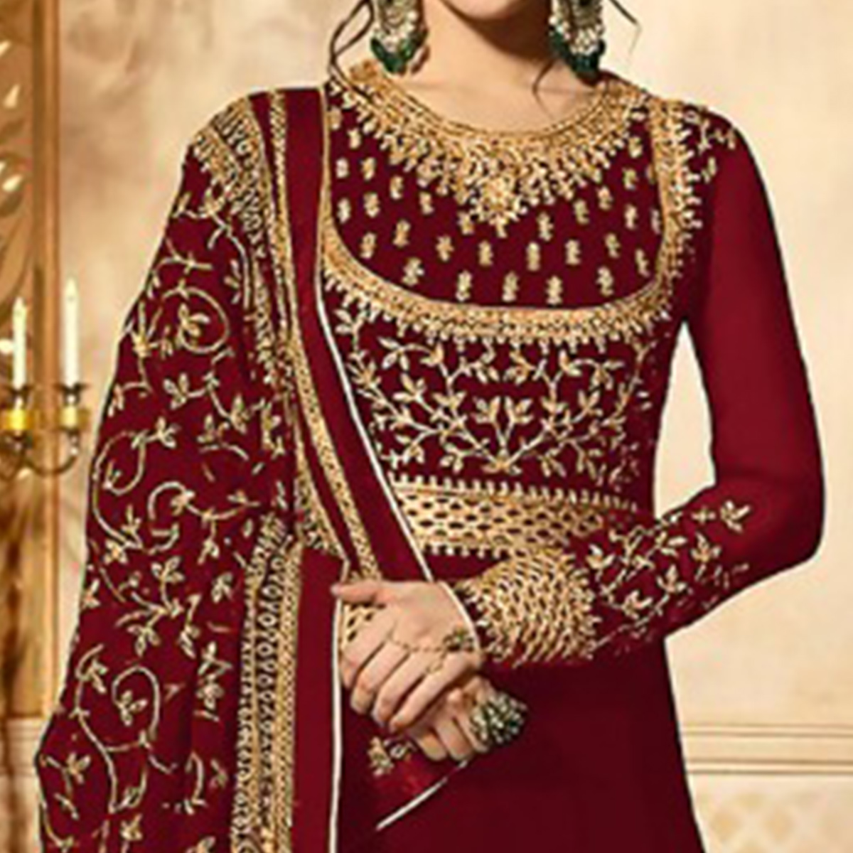 Gleaming Red Colored Wedding Wear Embroidered Georgette Anarkali Suit