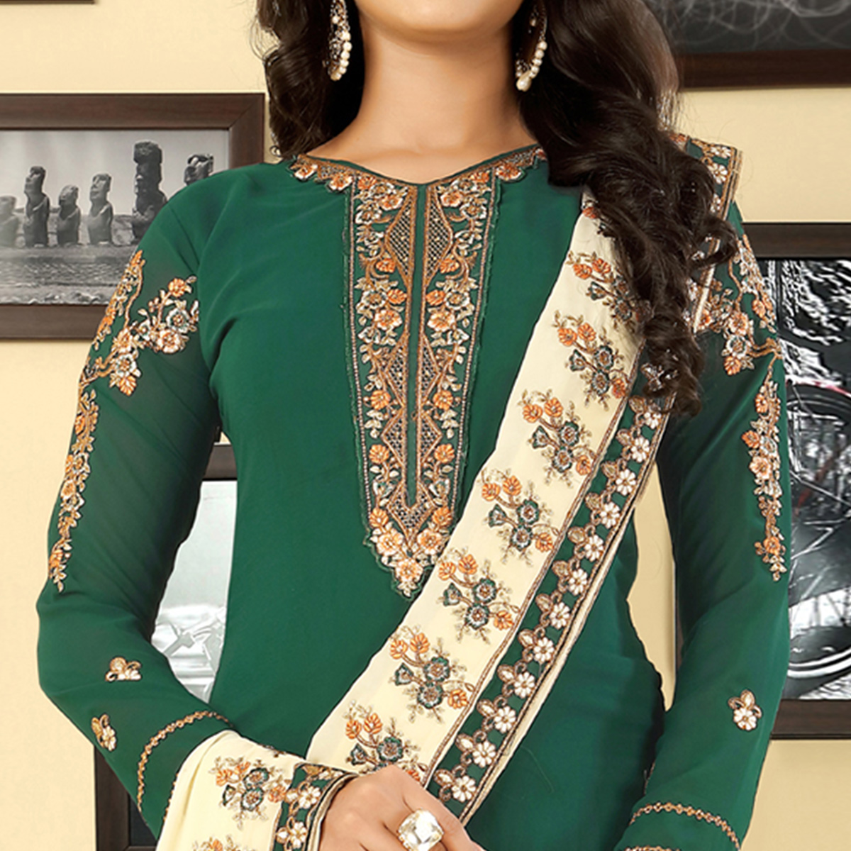 Exotic Green Colored Party Wear Embroidered Georgette Suit