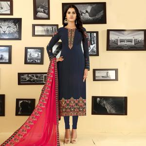 Majesty Navy Blue Colored Party Wear Embroidered Georgette Suit