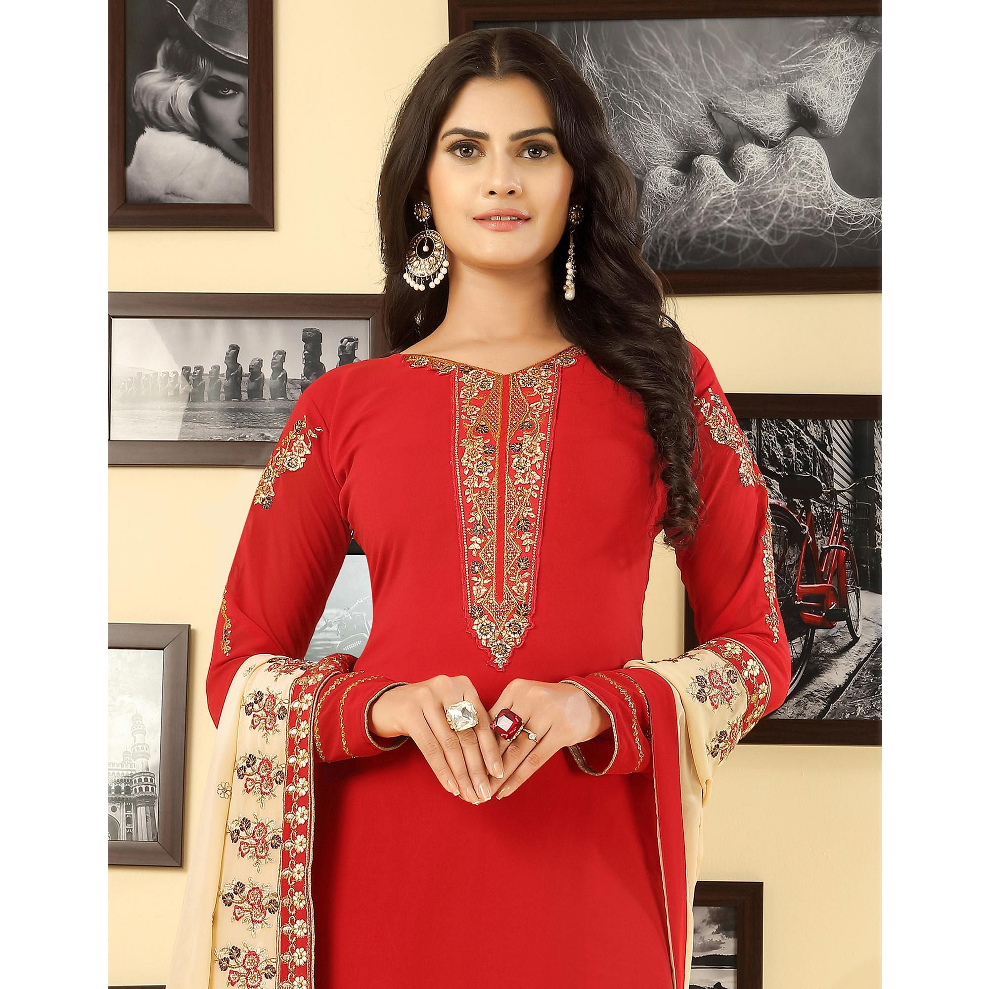 Preferable Red Colored Party Wear Embroidered Georgette Suit