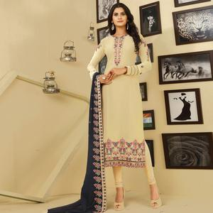 Attractive Cream Colored Party Wear Embroidered Georgette Suit