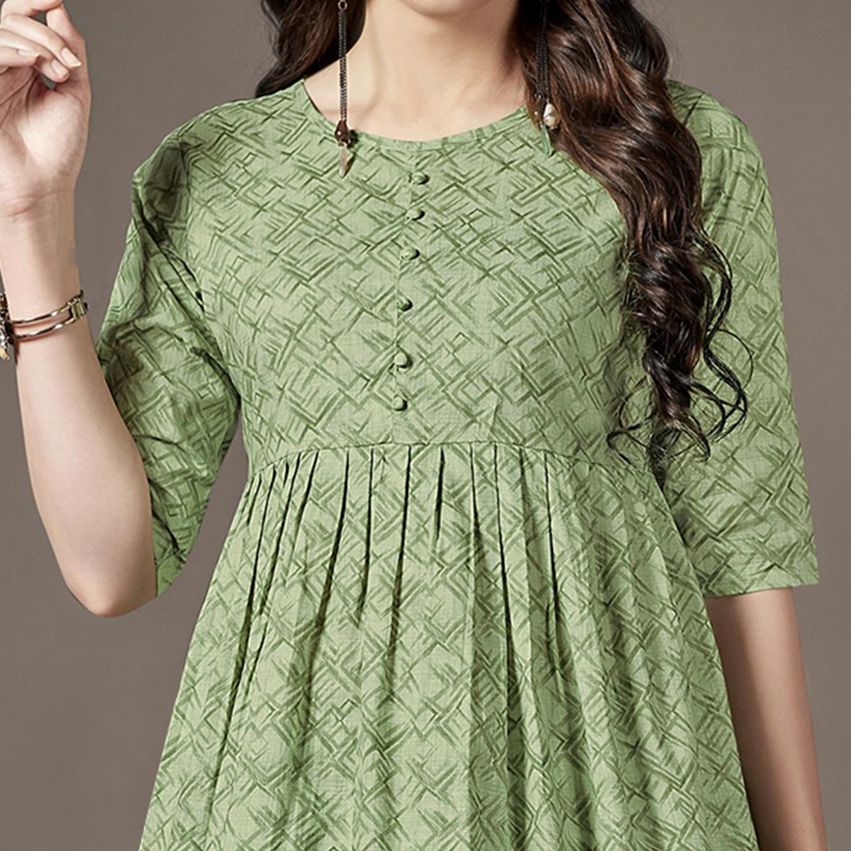 Lovely Green Colored Casual Printed Cotton Kurti-Palazzo Set