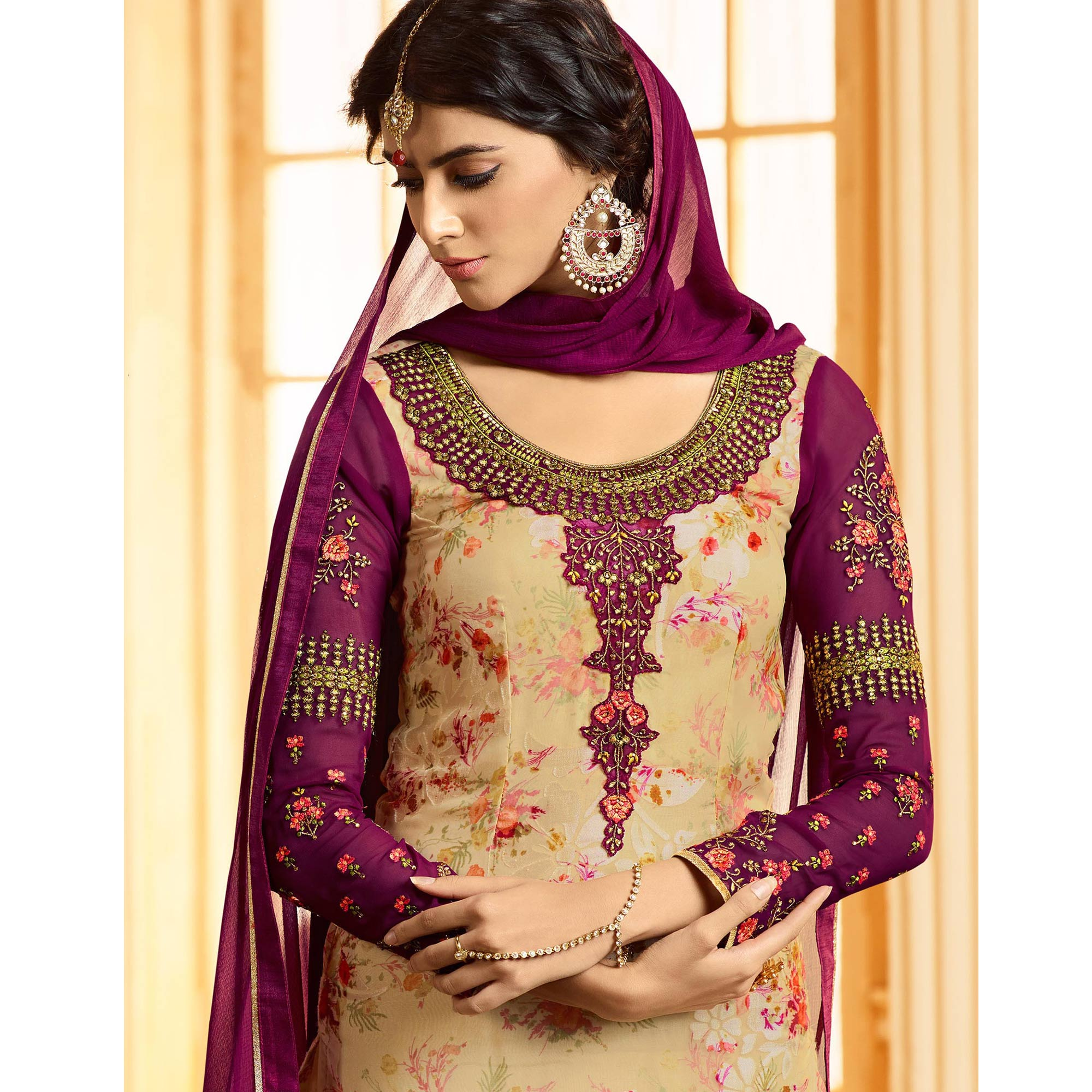 Charming Beige Colored Party Wear Embroidered Georgette-Brasso Suit