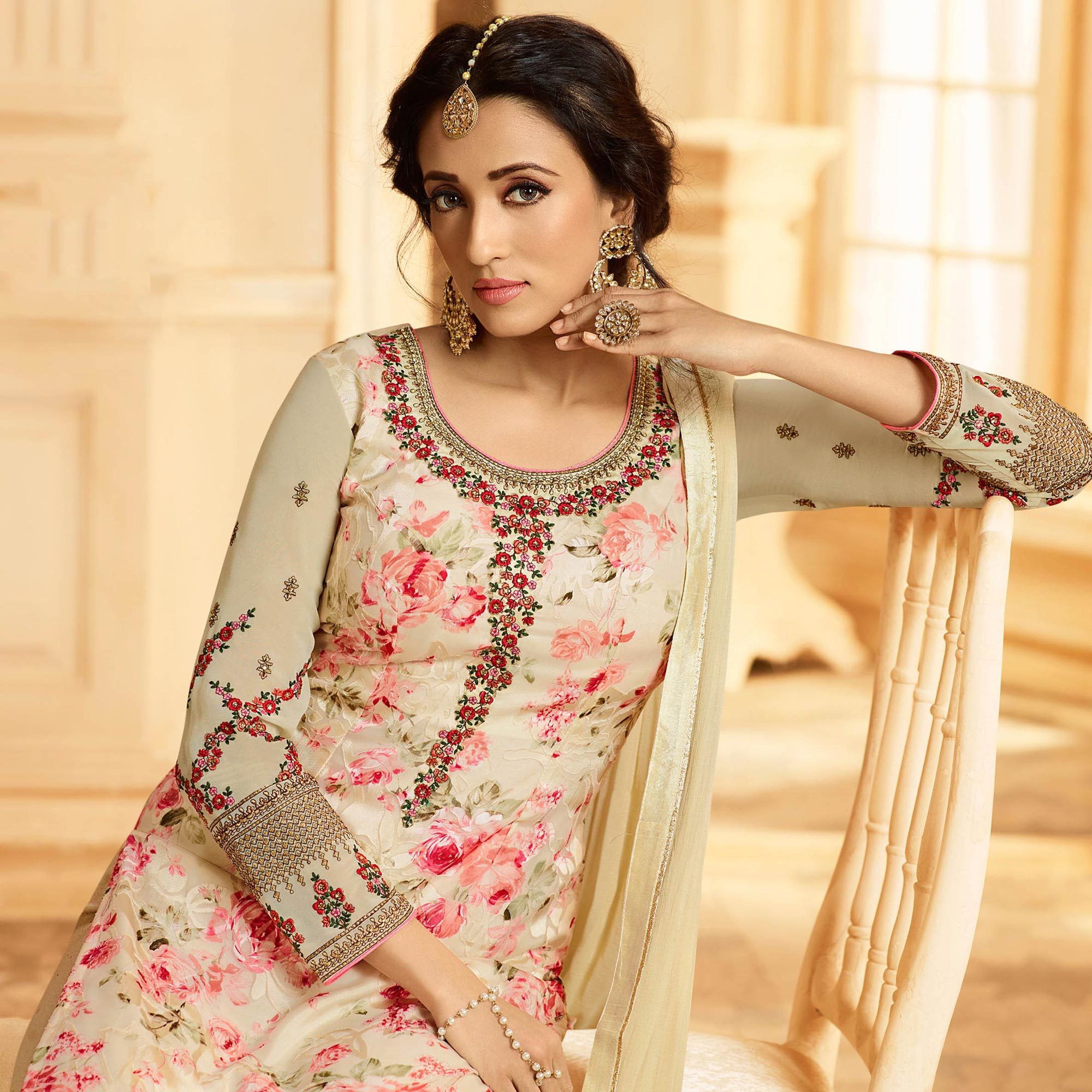 Ravishing Cream Colored Party Wear Embroidered Georgette-Brasso Suit