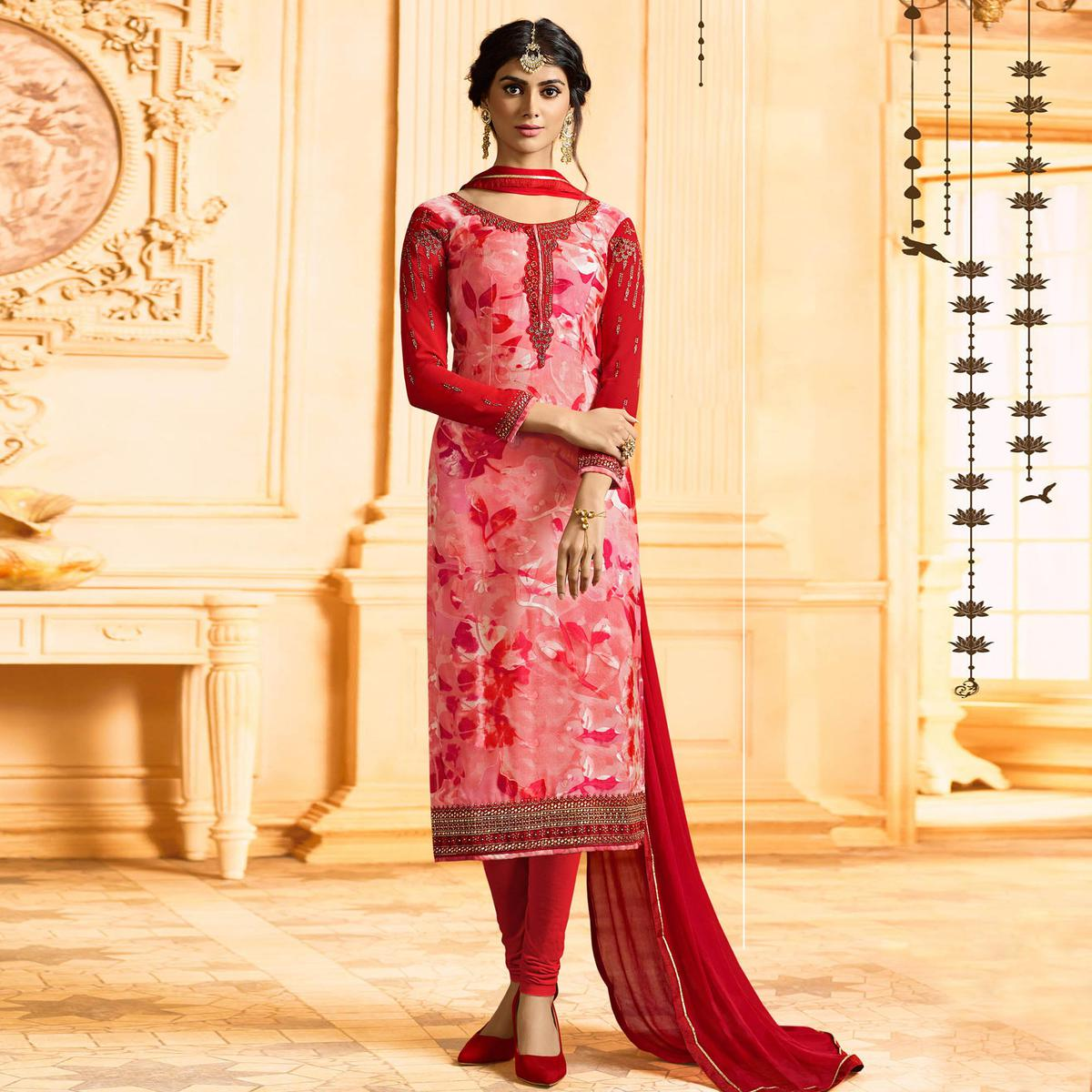 Delightful Pink Colored Party Wear Embroidered Georgette-Brasso Suit