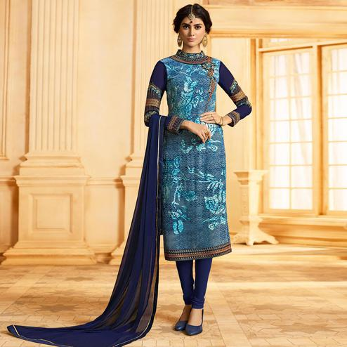 Stunning Blue Colored Party Wear Embroidered Georgette-Brasso Suit