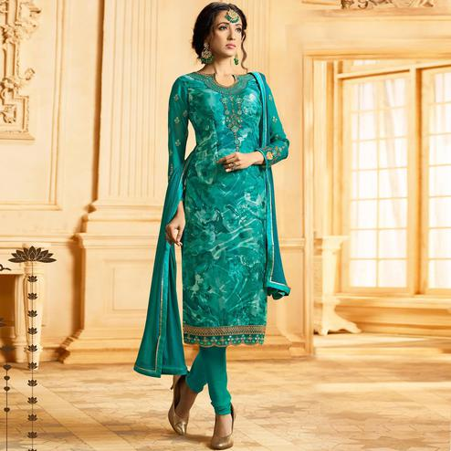Blooming Teal Blue Colored Party Wear Embroidered Georgette-Brasso Suit
