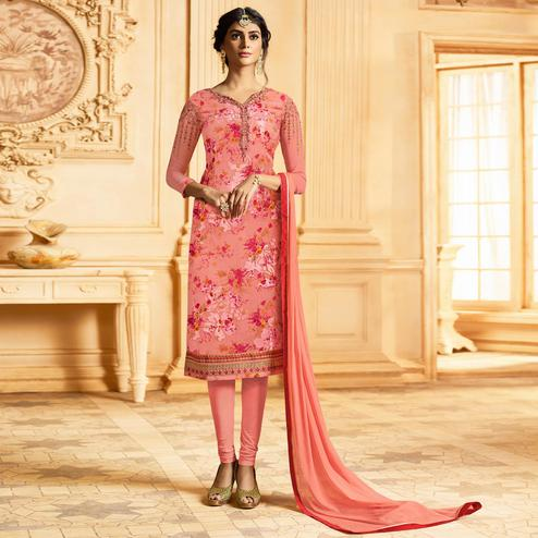 Marvellous Peach Colored Party Wear Embroidered Georgette-Brasso Suit