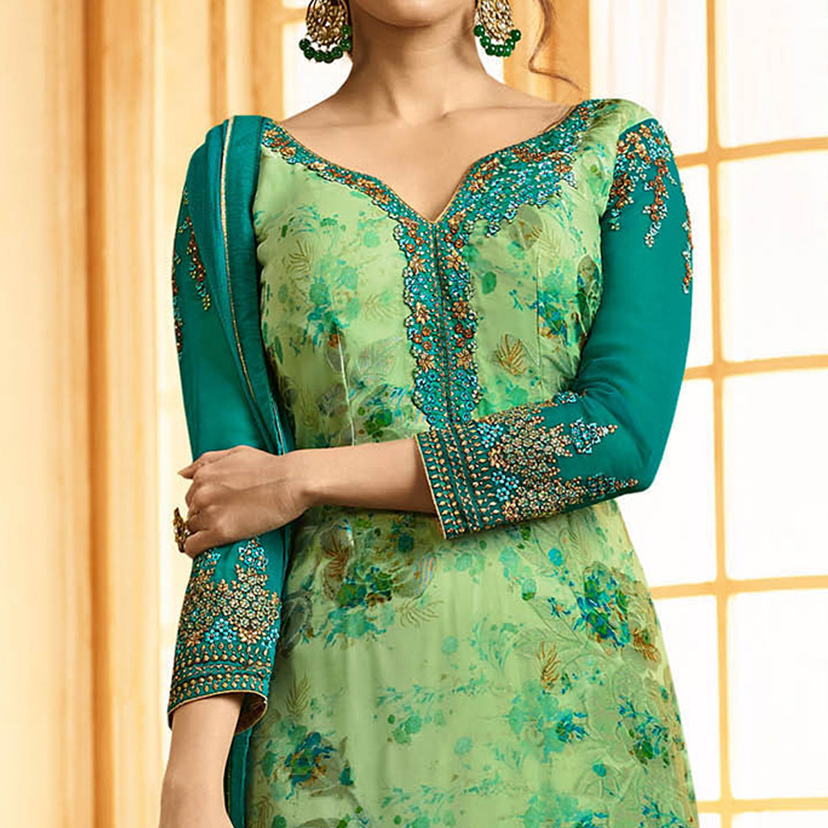 Mesmerising Pastel Green Colored Party Wear Embroidered Georgette-Brasso Suit