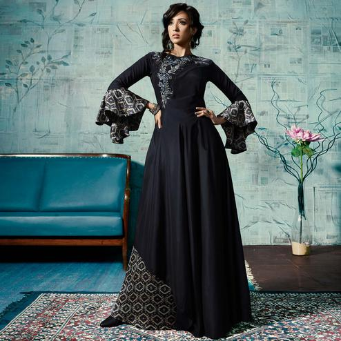 Attractive Navy Blue Colored Party Wear Fancy Cotton Gown