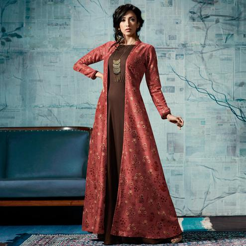 Beautiful Brown & Red Colored Party Wear Fancy Tussar Silk Gown