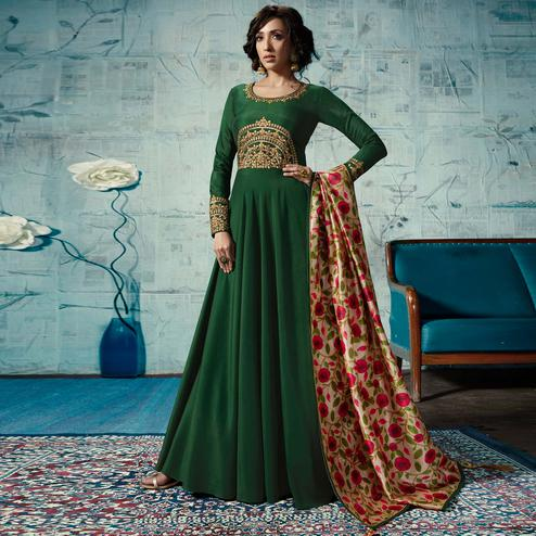 Gorgeous Dark Green Colored Party Wear Fancy Cotton Gown