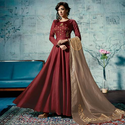 Glorious Maroon Colored Party Wear Fancy Linen Gown