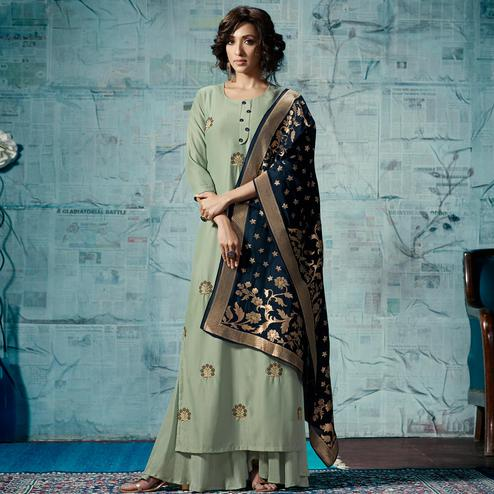 Lovely Pastel Green Colored Party Wear Fancy Cotton Silk Palazzo Suit
