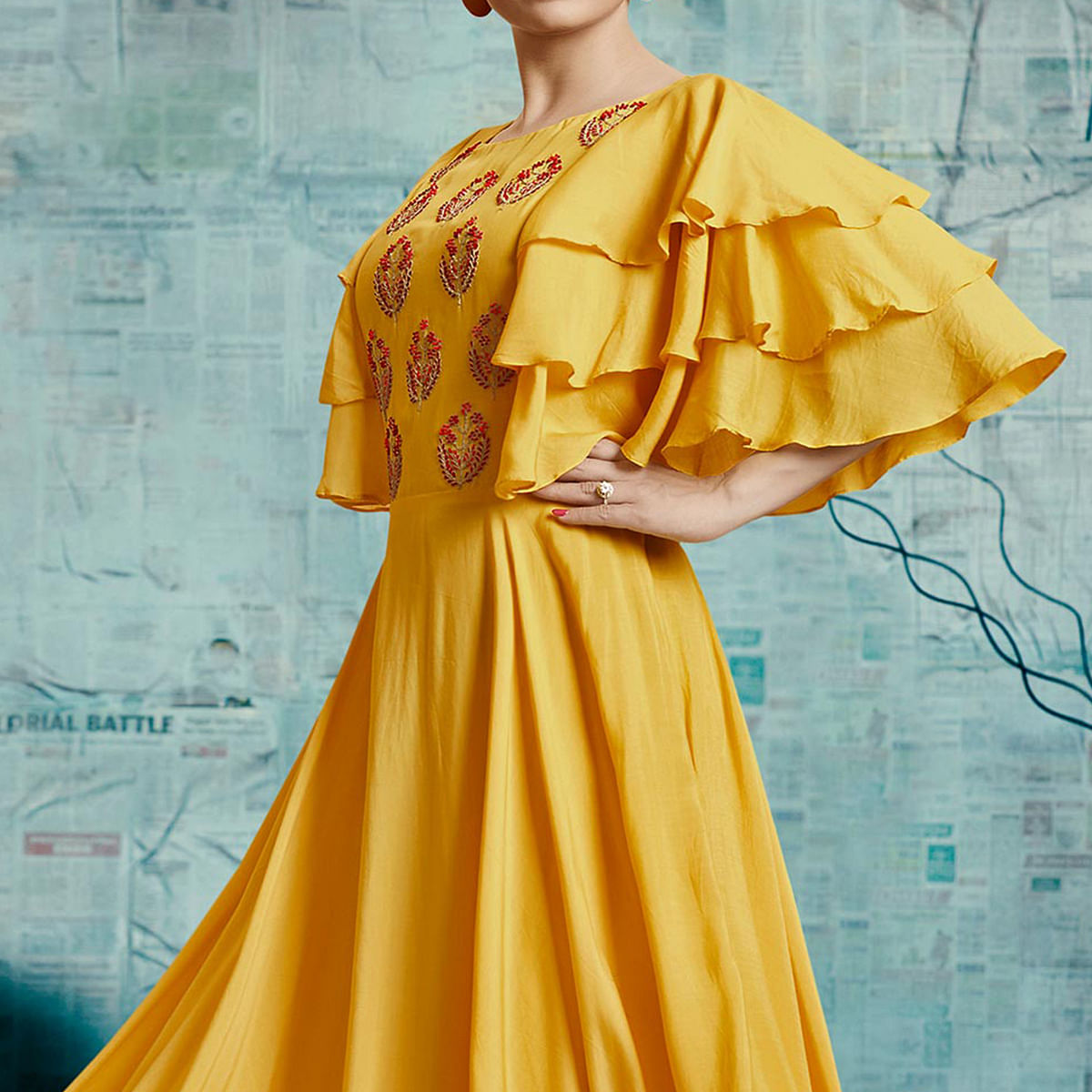 Charming Yellow Colored Party Wear Fancy Cotton Silk Gown