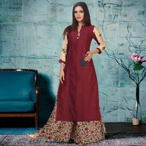 Delightful Maroon & Beige Colored Party Wear Fancy Cotton Palazzo Suit
