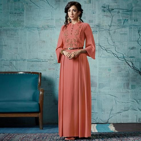 Stunning Dark Peach Colored Party Wear Fancy Rayon Gown