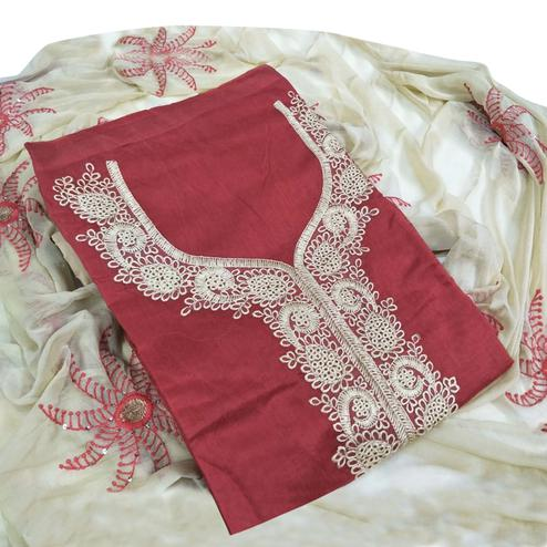 Elegant Maroon Colored Party Wear Embroidered Chanderi Salwar Suit
