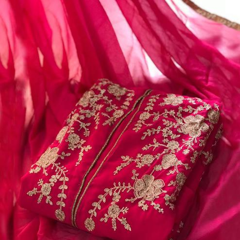Alluring Pink Colored Party Wear Embroidered Georgette Salwar Suit