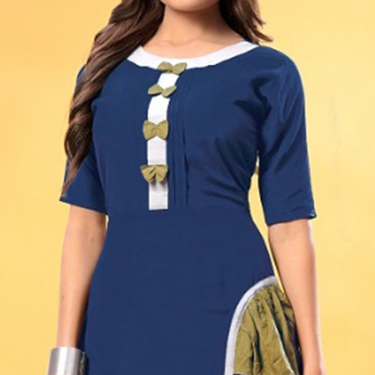 Beautiful Blue Colored Partywear Fancy Heavy Rayon Long Kurti