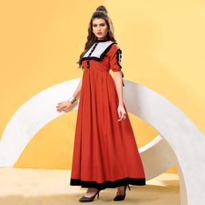 Glowing Orange Colored Partywear Fancy Heavy Rayon Long Kurti