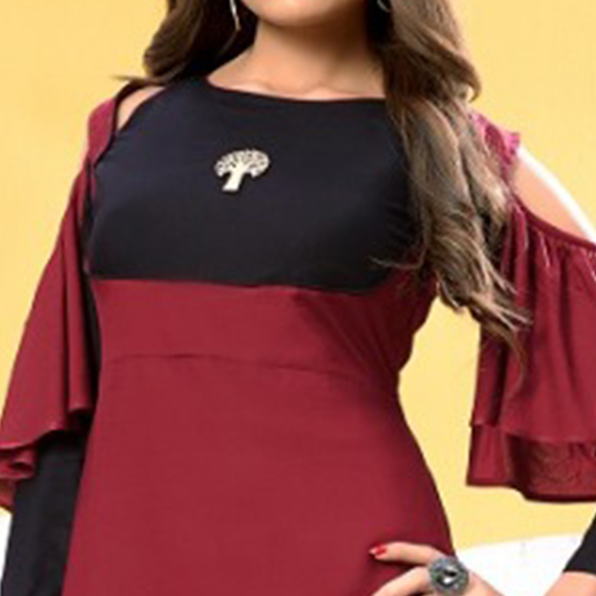 Trendy Maroon-Black Colored Partywear Fancy Heavy Rayon Long Kurti