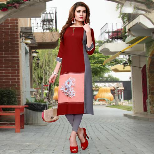 Sophisticated Red - Grey Colored Casual Wear Printed Rayon Kurti