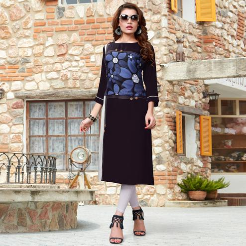Demanding Black Colored Casual Wear Printed Rayon Kurti