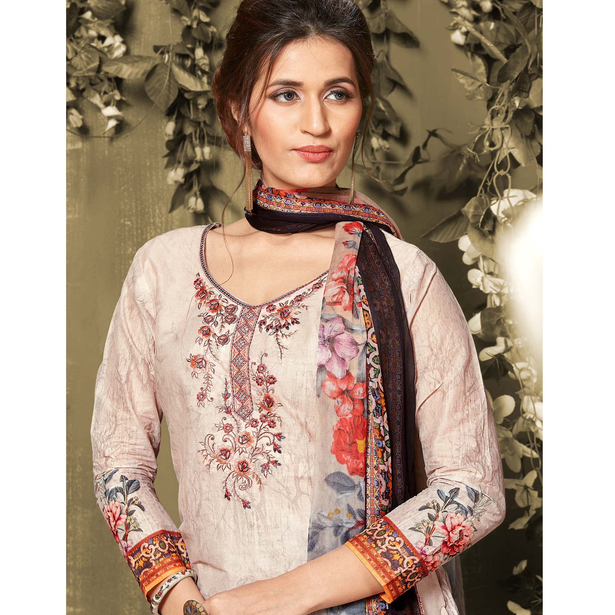 Ravishing Beige Colored Casual Wear Digital Printed Cotton Salwar Suit