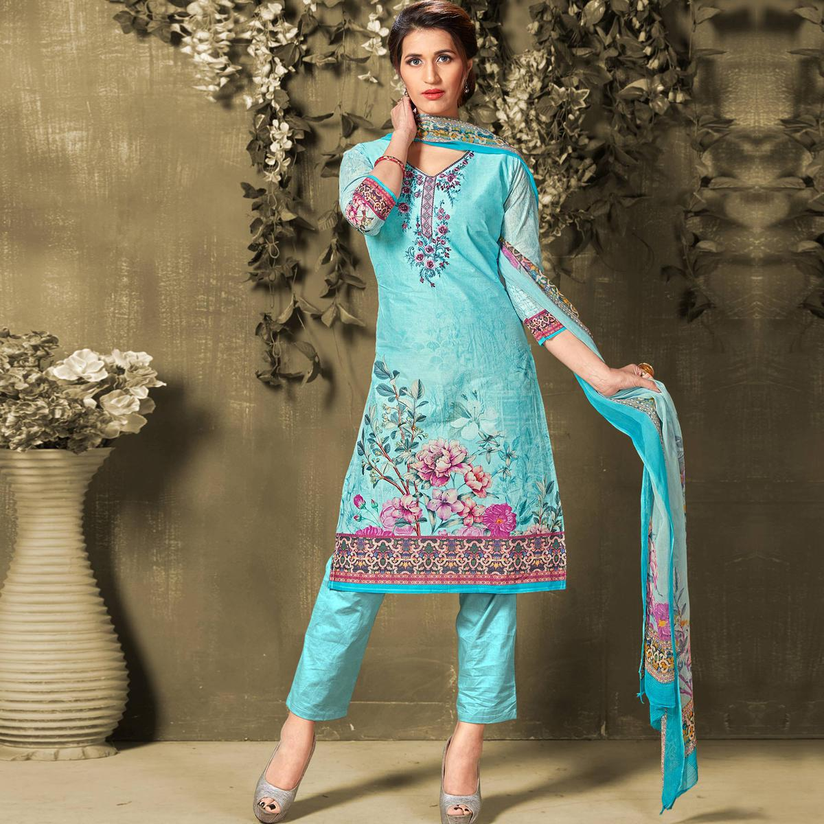 Delightful Turquoise Colored Casual Wear Digital Printed Cotton Salwar Suit