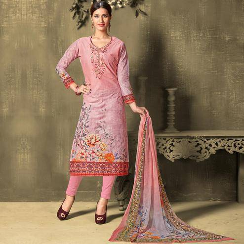 Stunning Pink Colored Casual Wear Digital Printed Cotton Salwar Suit