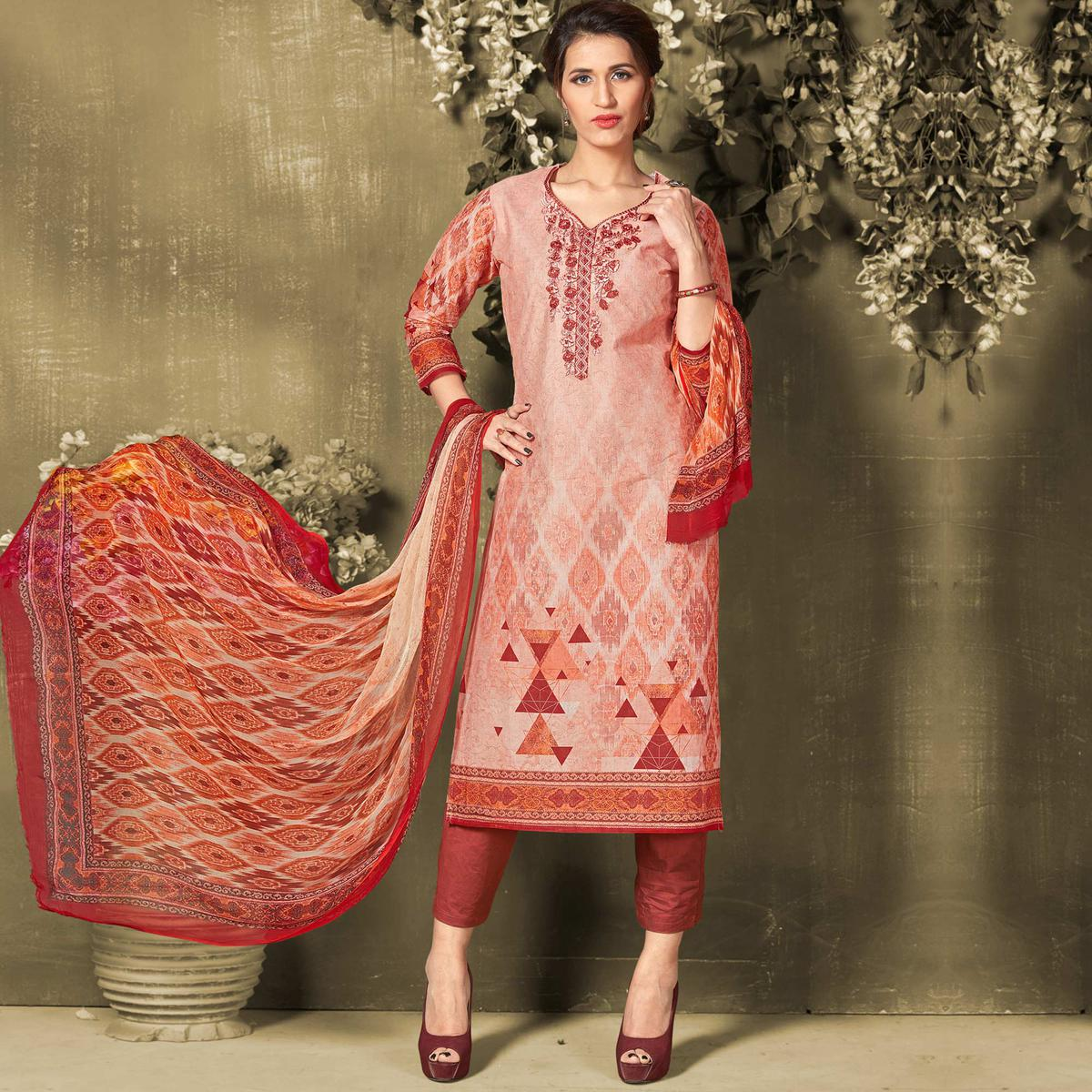 Blooming Light Red Colored Casual Wear Digital Printed Cotton Salwar Suit