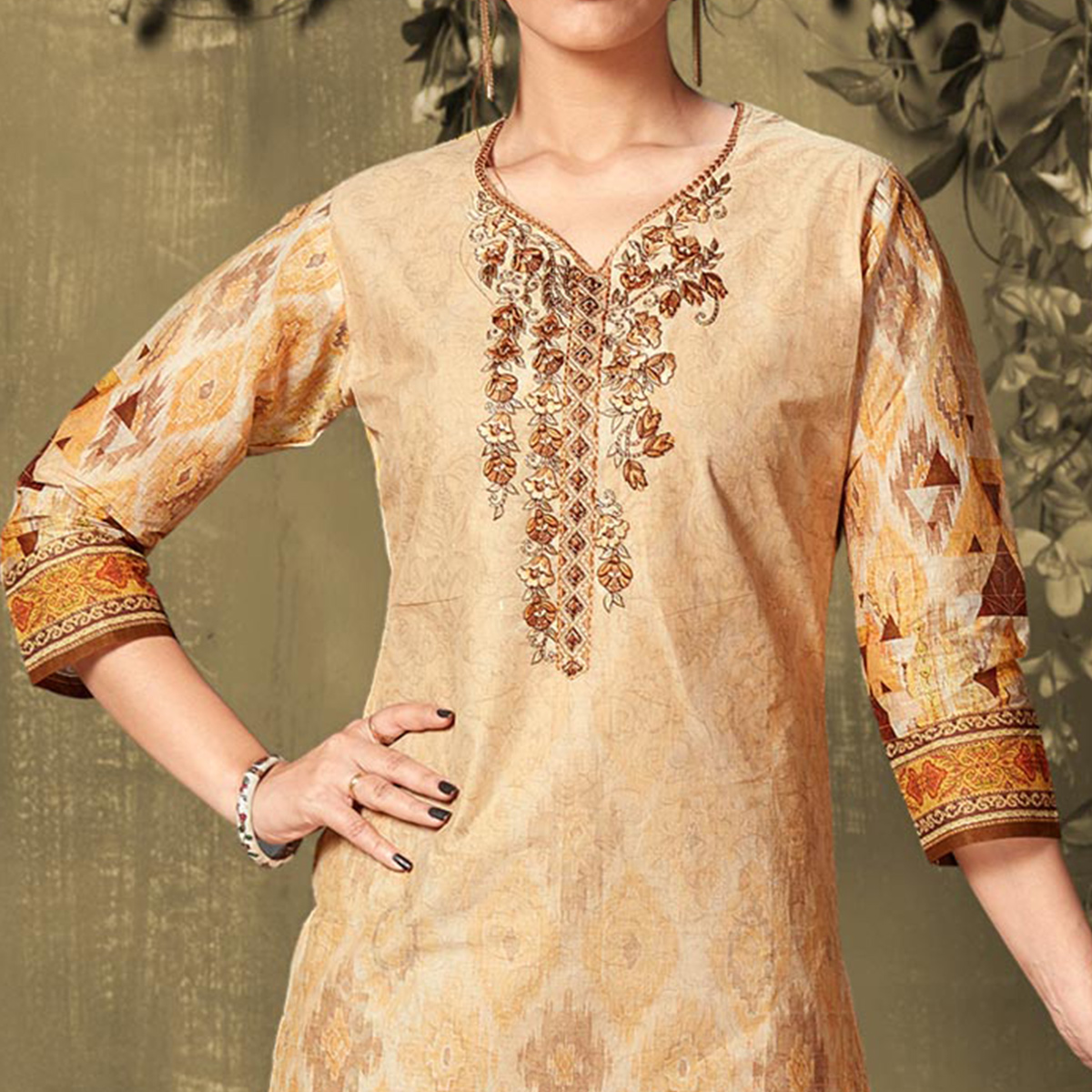 Mesmerising Beige Colored Casual Wear Digital Printed Cotton Salwar Suit