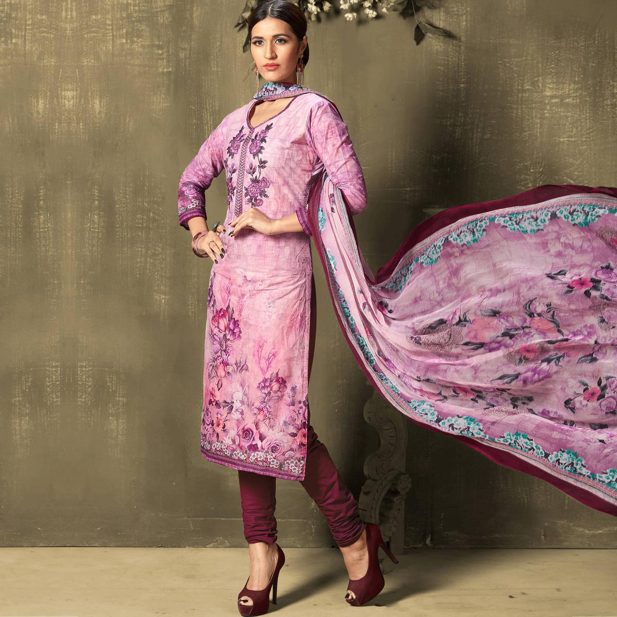 Eye-catching Purple Colored Casual Wear Digital Printed Cotton Salwar Suit
