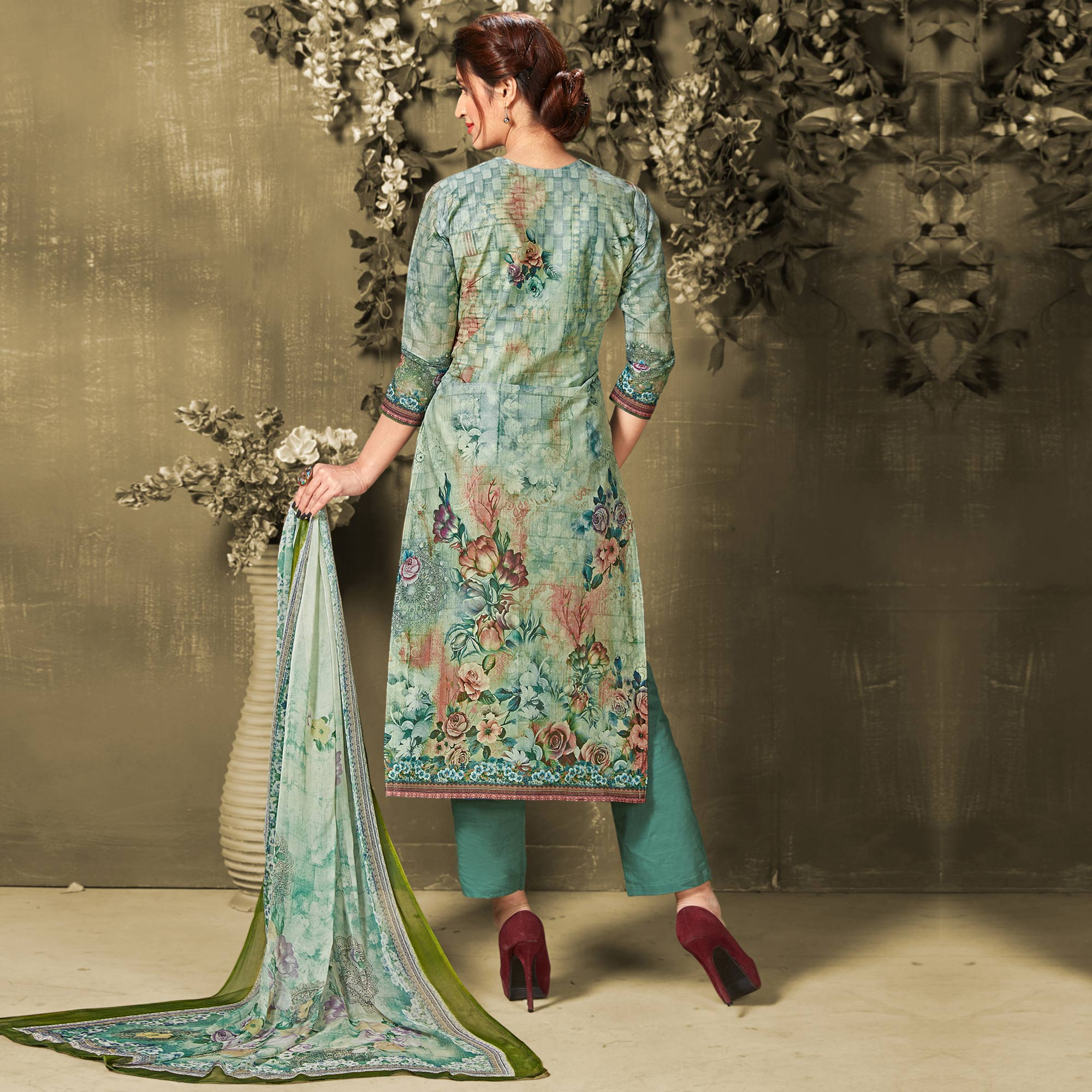 Amazing Green Colored Casual Wear Digital Printed Cotton Salwar Suit